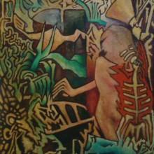 Straight onto Canvas. Oil on Canvas. Size 113 cm x 76 cm.