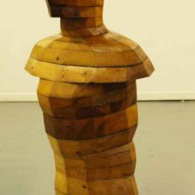 An Inclined Figure. Made from recycled wood. 105cm x 55cm x 30cm.
